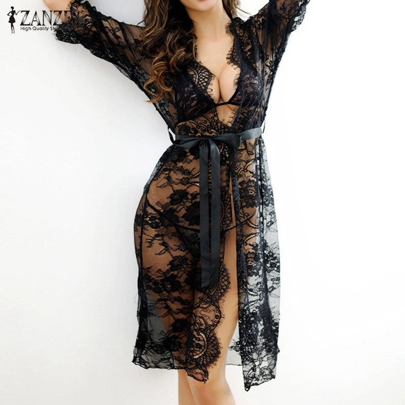 2019 Sexy Women Nightgowns Sleepshirts Three Quarter O Neck Nightgown Solid Full Lace Transparnet Hollow Out Dress Plus Size