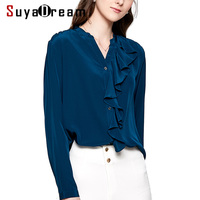 Women Blouse 16mm 100% Natural silk Office Lady Blouses Long sleeved Ruffles trims Blouse for women Blusas femininas 2019 New