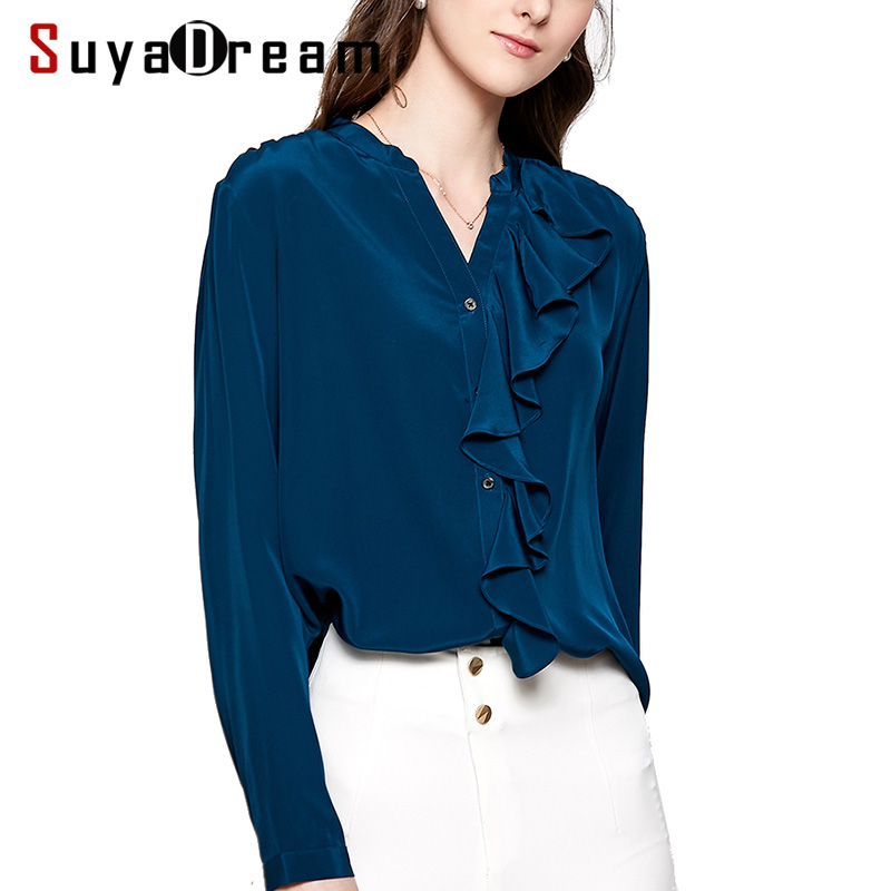 Women Blouse 16mm 100% Natural Silk Office Lady Blouses Long Sleeved Ruffles Trims Blouse For Women Blusas Femininas 2019 New