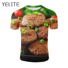 YELITE Delicious Food T Shirt French Chicken/Sausage/Roast Meat Tshirt 3D Print Tasty T-shirt 2019 Summer New Casual