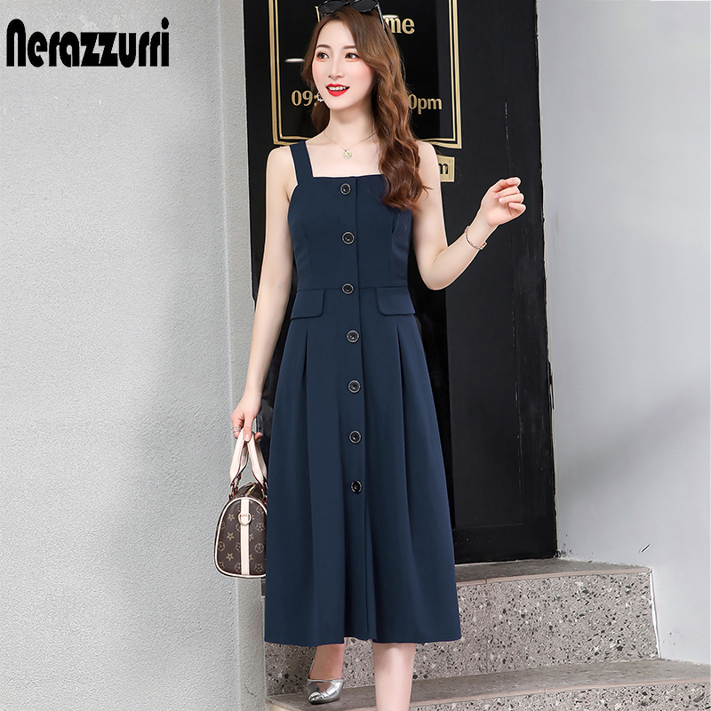 Nerazzurri spaghetti strap backless sexy long dress sleeveless elastic slim button midi dress 5xl 6xl plus