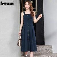 Nerazzurri spaghetti strap backless sexy long dress sleeveless elastic slim button midi dress 5xl 6xl plus size women clothing