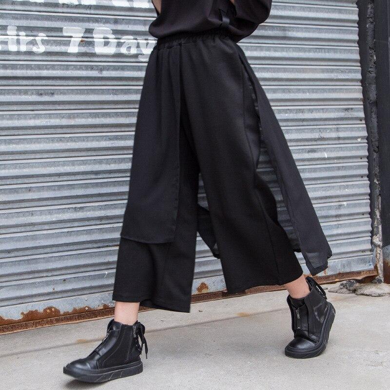 Demo BTC 春の新スプリットスカート非対称パンツ女性カジュアルシフォンパッチワークアンクル丈パンツ Bitcoin