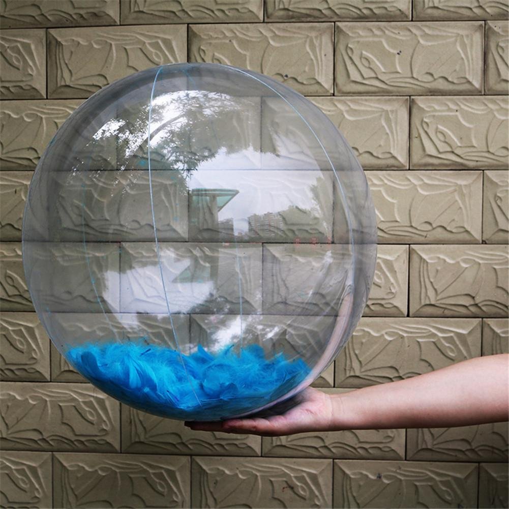 Inflatable Transparent Feather Beach Ball For Outdoor Swimming Pool Water Playing PVC Ball Play Water Beach Toys