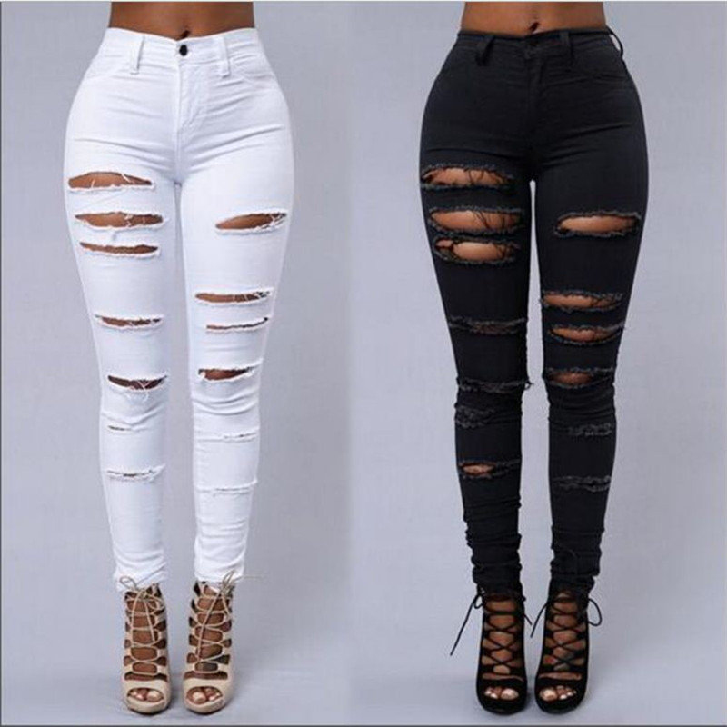 2018 Womens Fashion Slim Pants High Waist Jeans western style Vintage Stretch Cotton Ripped Hole Skinny Trousers S-XXL