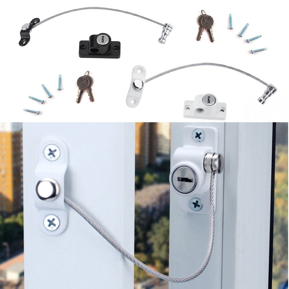 4Pcs/Set Bold Baby Window Locks Children Protection Lock Stainless Steel Window Limiter Baby Infant Security Door Restrictors
