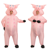 Adult Inflatable pink pig Costume Carnival Halloween Costumes for women men Animal pig Cosplay Clothing Fancy Dress Suit Unisex