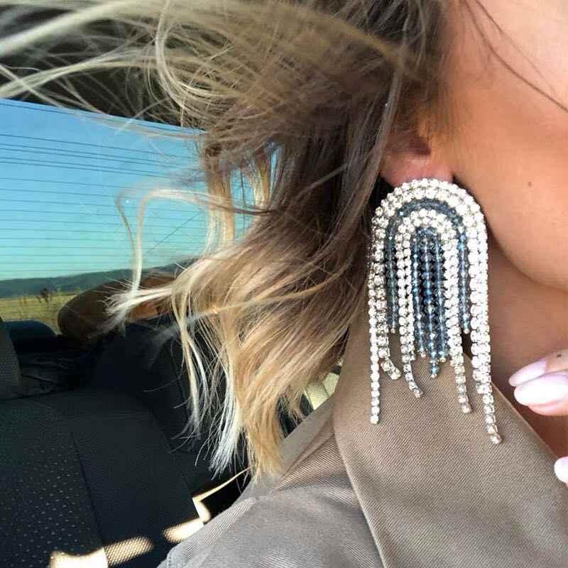 18 new tassel rhinestones long female lust ear accessories autumn and  winter earrings 57a6b8b4728e