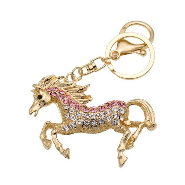 1 pc Strass Cavalo Chaveiro Charme Bonito Pendurado Saco Bolsa Pingente Chaveiro Decoração Do Carro Chaveiro Presente Criativo