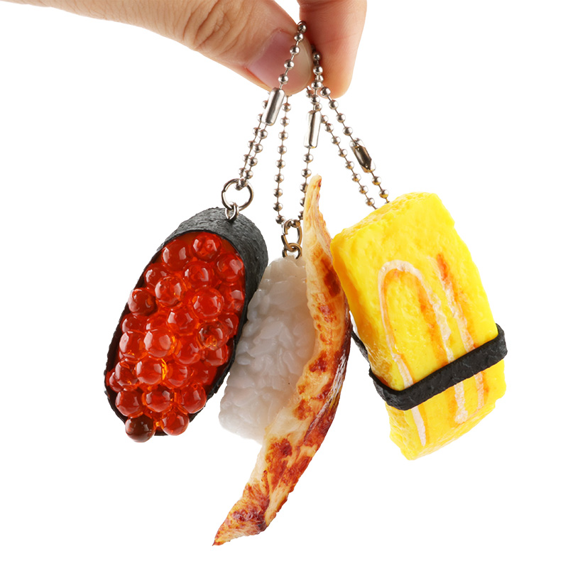 Image 3 - PVC Simulation Sushi Keychain Japan Food Model Toy Sashimi Eel Sea Urch Restaurant Toys For Children Creative Gift-in Action & Toy Figures from Toys & Hobbies