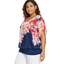 Women's Floral Plus Size Cotton Blouse
