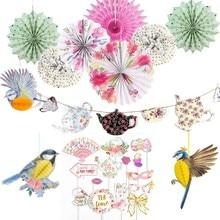 Spring Tea Party Decorations Supplies Paper Rosette Fans 3D Birds Pot Banner Photo Backdrop After Home Gardens Decor