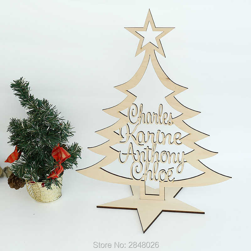 Personalised Our Family Christmas Tree With Names Free Standing Plaque Family Gift Wood Christmas Tree On Stand Party Diy Decorations Aliexpress