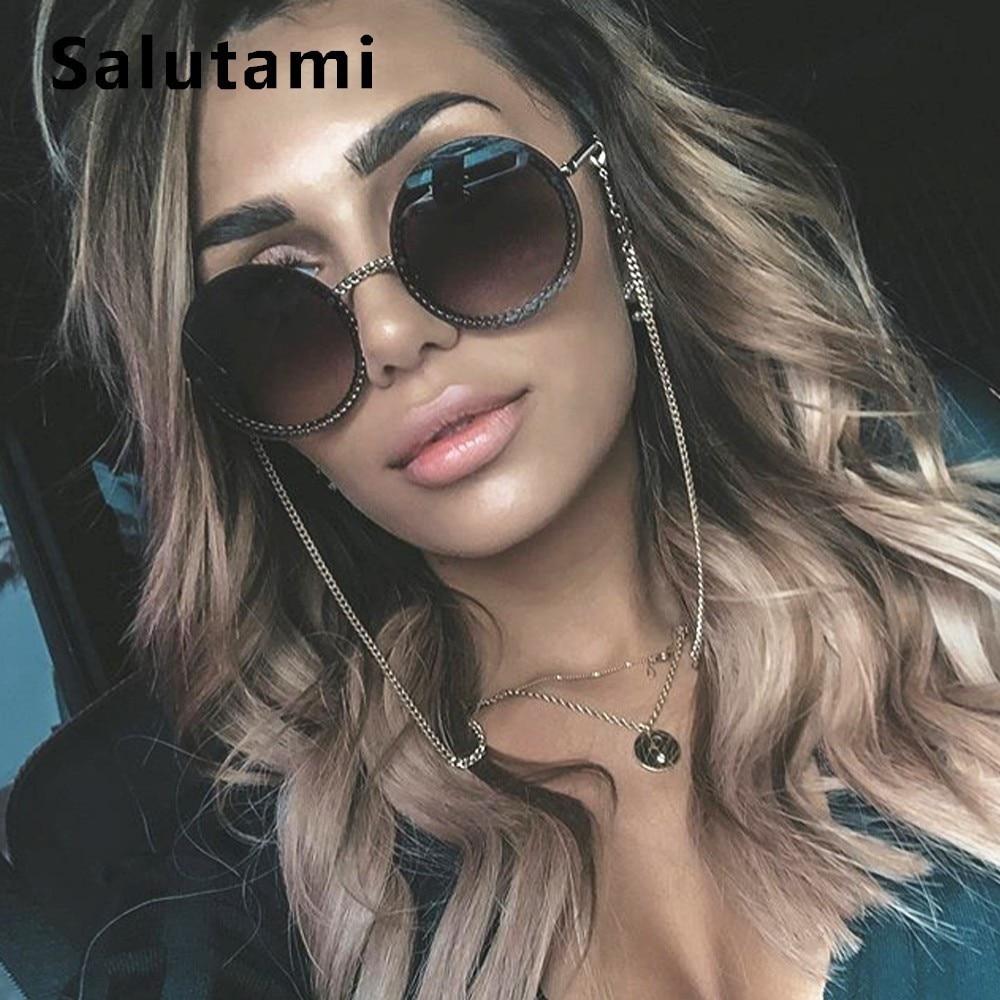 Chic No Chain Lens Alloy Women Sunglasses 2019 Luxury Brand Vintage Retro Black Sexy Round Sun Glasses Female Shades Rimless