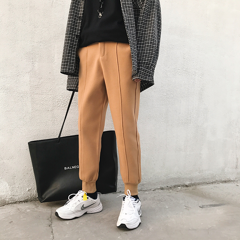2018 Hiver Hommes de Pieds Bandés Impression Coton Casual Pantalons De Laine Pantalon Épaissir Garder Au Chaud Noir/kaki/gris joggeurs pantalons de Survêtement