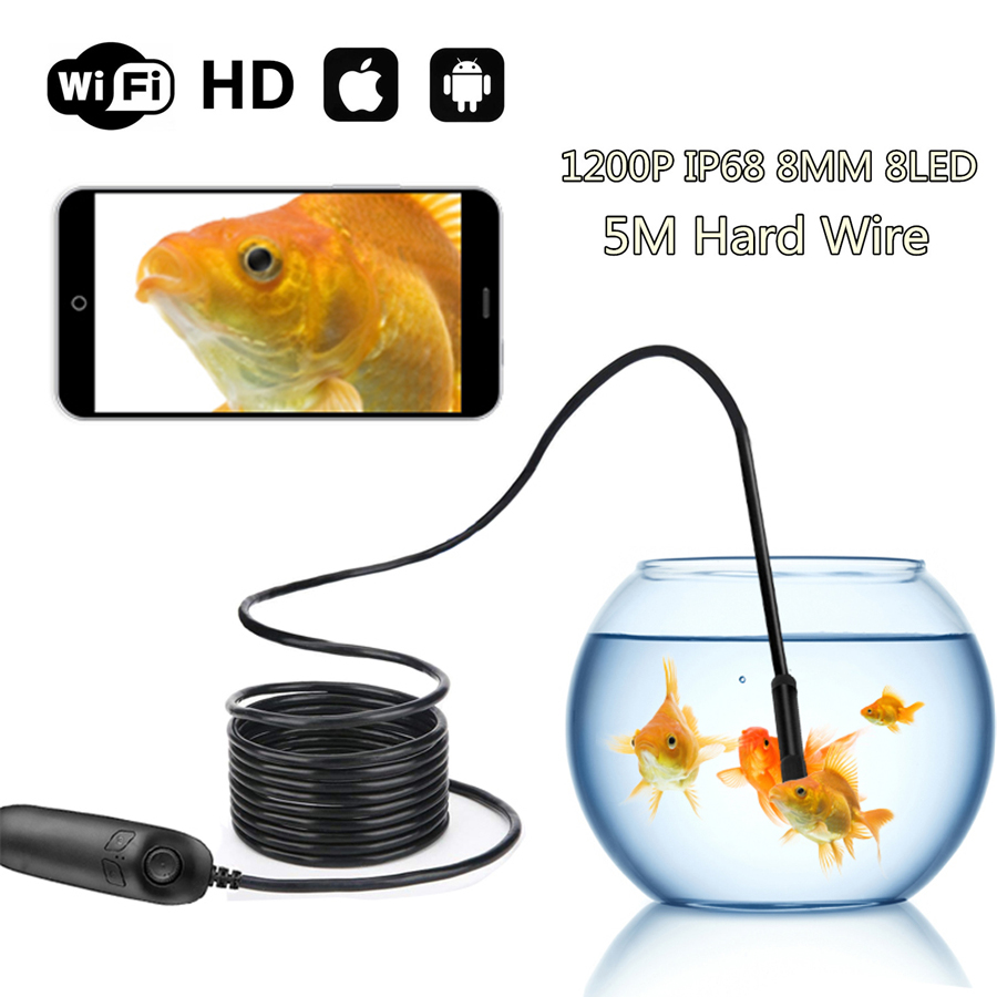5M Wifi Endoscope Inspection Camera Hard Wire 1200P Telescoping IP68 Waterproof 2.0MP Semi-Rigid With 8 LED For iOS Android