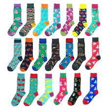 PEONFLY Combed Cotton Men's Socks Harajuku Colorful Happy Funny Cartoon Shark Ch