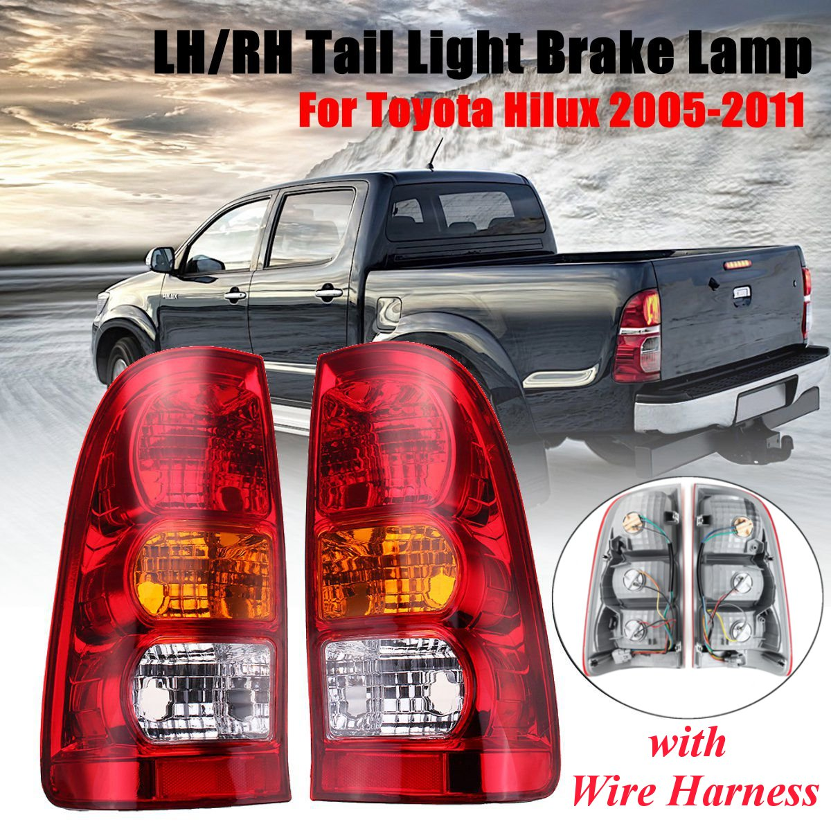 For Toyota Hilux 2005 2006 2007 2008 2009 2010 2011 Pair Red Tail Lamp Rear Tail Light Brake Lamp With Wire HarnessFor Toyota Hilux 2005 2006 2007 2008 2009 2010 2011 Pair Red Tail Lamp Rear Tail Light Brake Lamp With Wire Harness