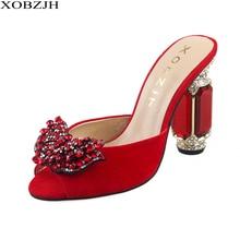 Brand Shoes Designer Summer Sandals Women Luxury 2019 High Heels Rhinestone Red Black Green Block Heel Party Woman