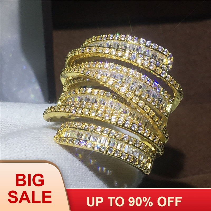 Luxo Grande anel de Noivado de Ouro Amarelo Cheio anéis da faixa do casamento para as mulheres em forma de T AAAAA cristal de zircão 925 prata Bijoux presente