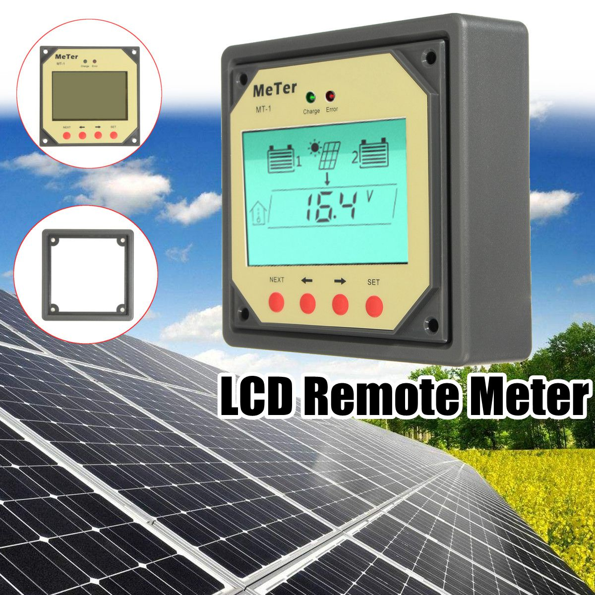 MT-1 Remote Meter LCD display Monitor for 10A 20A Dual Battery Solar Regulator Controller remote meter lcd display mt1 for solar regulator for duo battery two battery