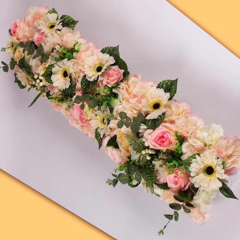 DIY 1M wedding flower decor for iron arch artificial flower arrangement supplies Road lead cited flower Row Window T station