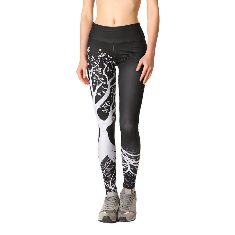 Women Leaf Print Yoga Pants Workout Gym Fitness High Waist Tight Running Sports Leggings