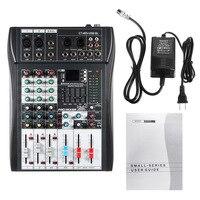 Лесли 4 канальный bluetooth микшерный пульт DJ микшерный пульт Беспроводной музыкальный плеер с USB светодиодный Экран для телефона
