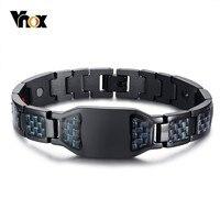 Vnox здоровья энергии углерода браслеты из волокон браслеты для мужчин Jewelry нержавеющая сталь био Магнитная pulseira masculina 8,26