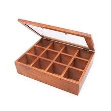 LICG-Wooden Multifunctional Storage Box, Classic Wooden Desktop Organizer 12 Adjustable Chest Compartments Organizers