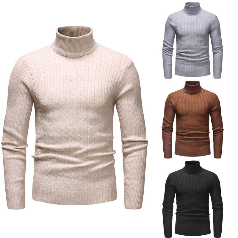 2019 New Style Fashion Hot Men's Turtle Neck Long Sleeve Cotton Top Sweaters Pullover Casual Solid Winter Warm