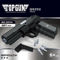 22514 327Pcs Pistol Arms Model 1:1 Black Gun Qsz92 Semi Automatic Building Block Brick Toy