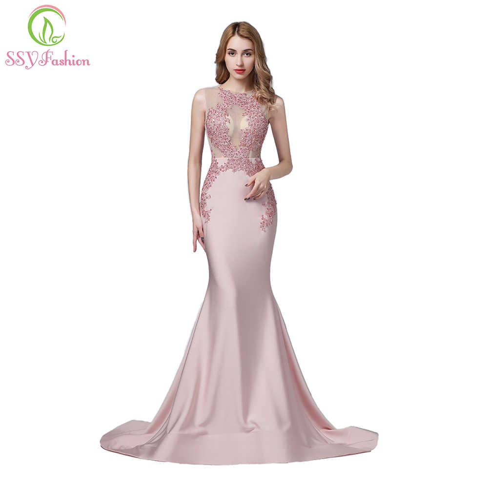 cc20eca2132 Detail Feedback Questions about SSYFashion New Luxury Pink Satin Mermaid  Evening Dress High end Lace Appiques Beading Sleeveless Sexy Fishtail Prom  Formal ...