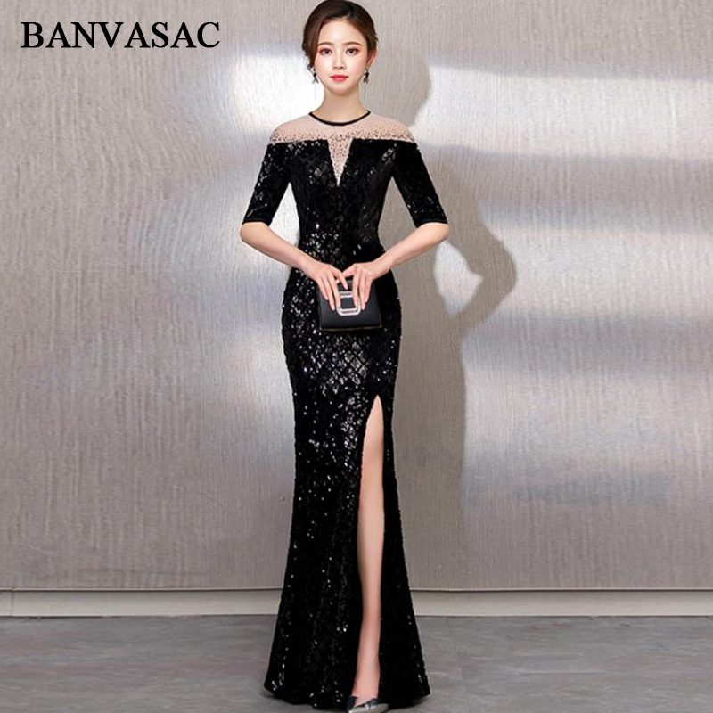 BANVASAC 2018 Crystal Illusion O Neck Split Mermaid Long Evening Dresses Party Sequined Half Sleeve Prom Gowns