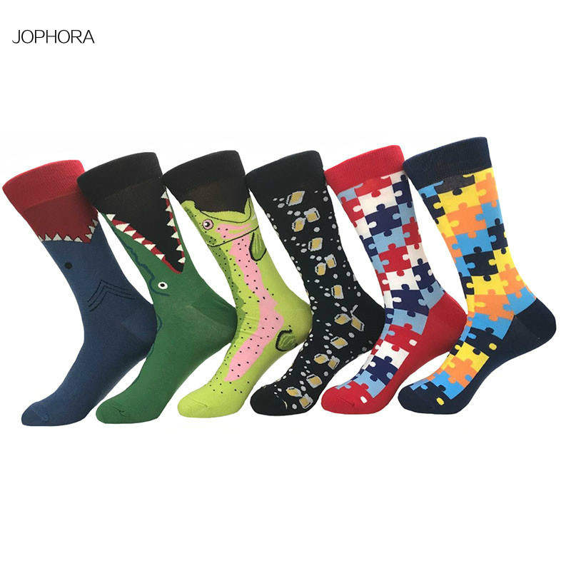 2019 Cross-border new   socks   Tide card in the same Geometry Stockings cartoon animal street fashion Mens   Socks
