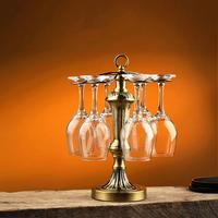 Iron Art Wine Glass Rack Lamp Pole Shape Electroplated Handmade Red Wine Bottle Holder Home Bar Desktop Decoration