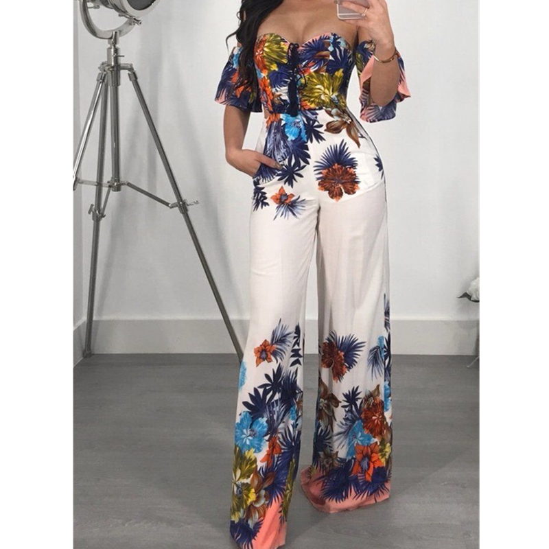 Fashion Women Summer Floral Sleeveless Off Shoulder Jumpsuit Backless Wide Leg Backless Playsuit Casual Bodysuit