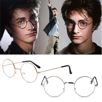 Okrągłe okulary do czytania okulary do harry #8217 ego metalowe ramki okulary zwykłe lustro przezroczyste okulary mężczyźni kobiety okulary do czytania tanie i dobre opinie Unisex Dla dorosłych Kostiumy
