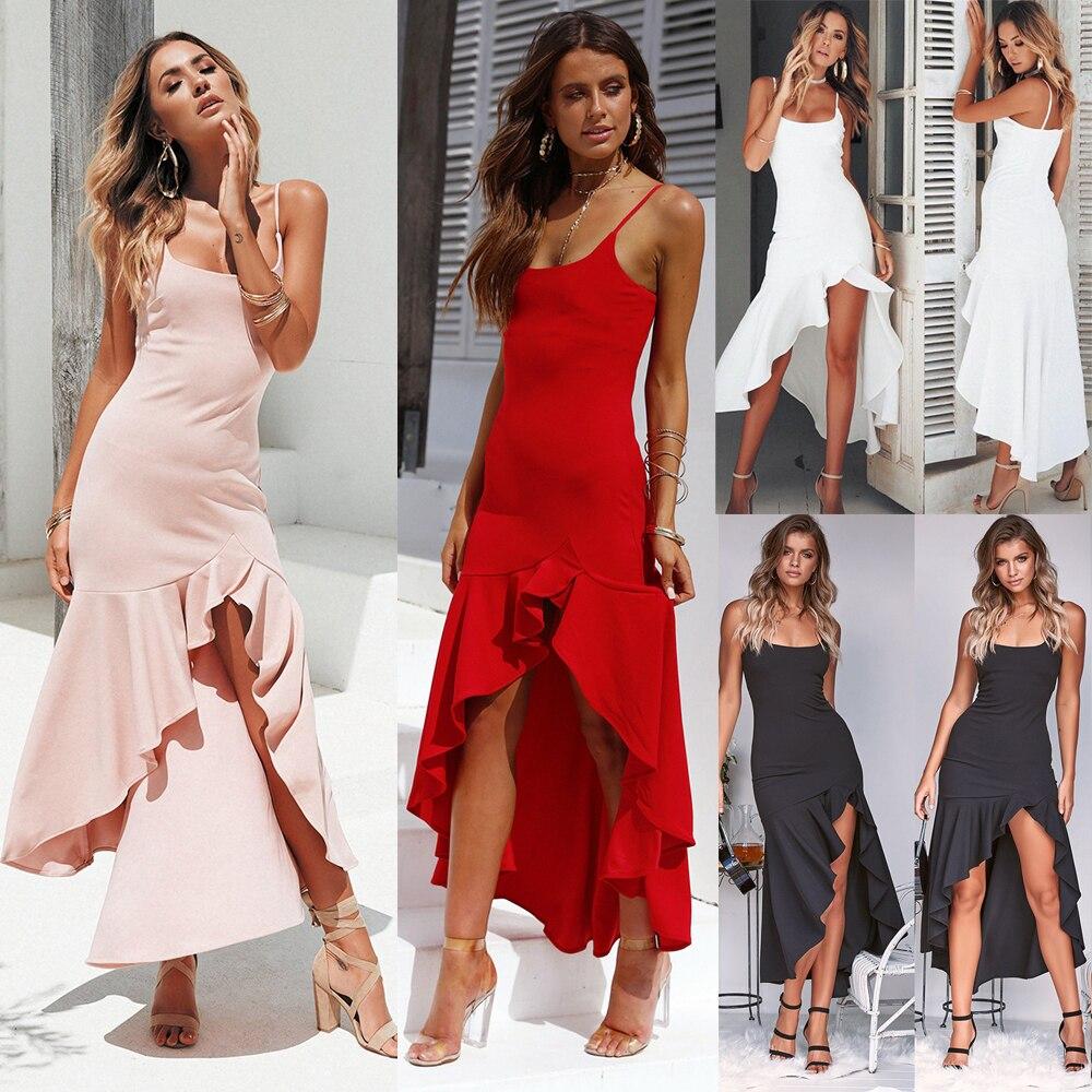 Hirigin New Women Summer Sexy Elegant Sleeveless High Waist Ruffle Long Maxi Dress Evening Party Sundress White/Red/Black/Pink