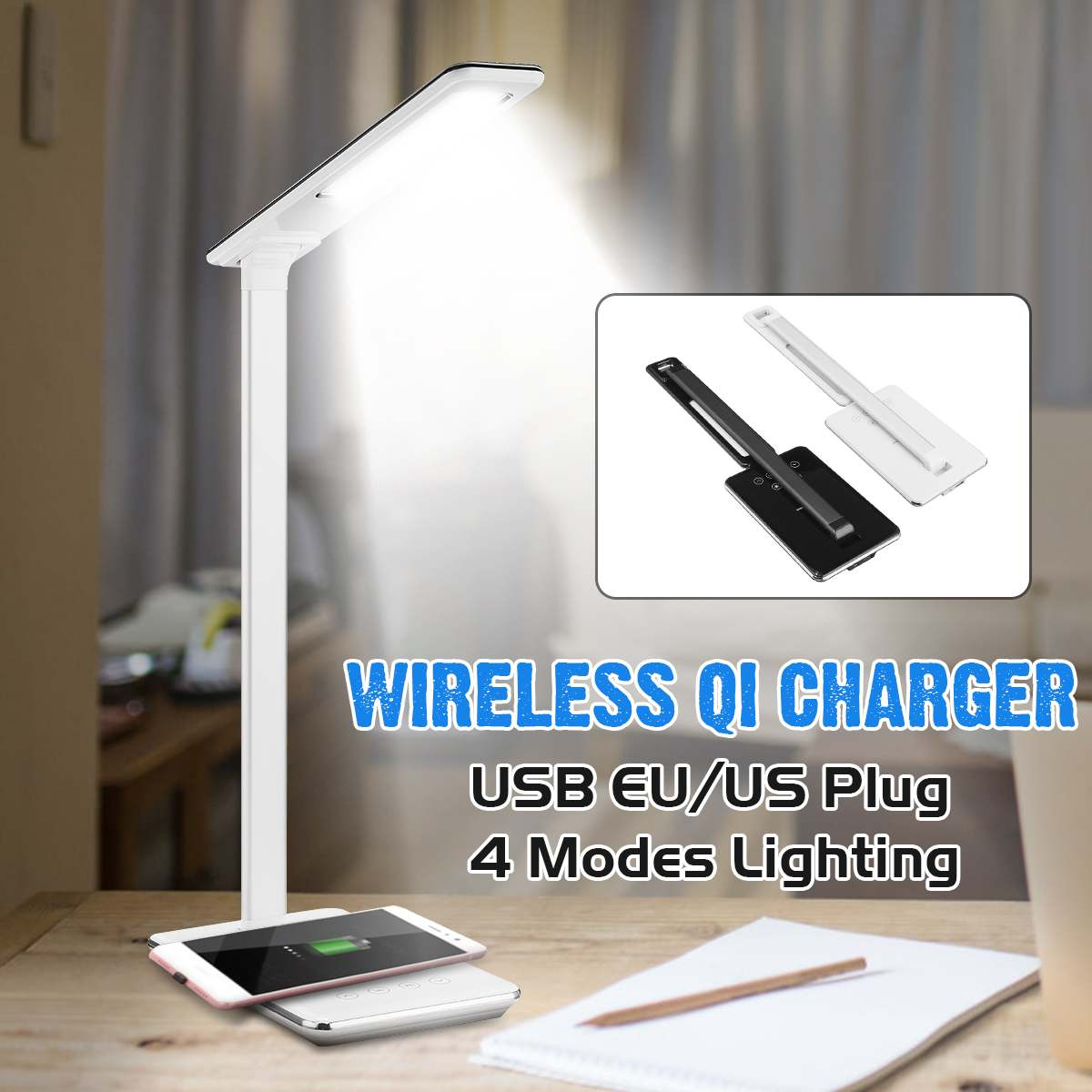 Table Desk LED Lamp Light Qi Wireless Cell Phone Charger for iPhone 8 X XS Max XR Fast Wireless Charging Pad for Samsung S9 S8