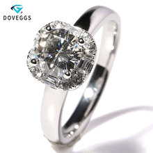 DovEggs Luxury 1 Carat ct F Color Engagement Wedding Lab Grown Moissanite Diamond Ring Solid 14K 585 White Gold For Women
