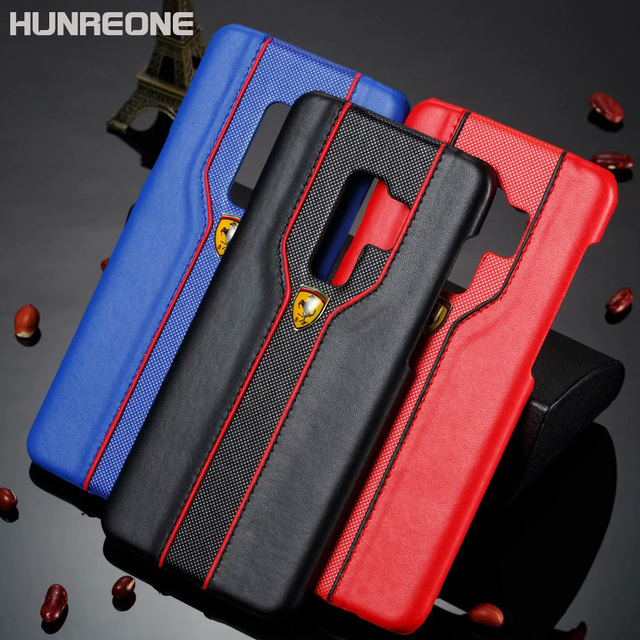 new product 9e08a 5eacd US $4.37 5% OFF|Hunreone Ferrari Logo PU Leather Cover Protection Mobile  Phone Case For Samsung S9 S9 Plus-in Half-wrapped Case from Cellphones & ...