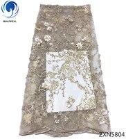 Красивые 3d кружевные ткани последние высокое качество африканский тюль кружевная ткань 2018 3d Цветы кружевная ткань с бисером 5 ярдов ZXN58