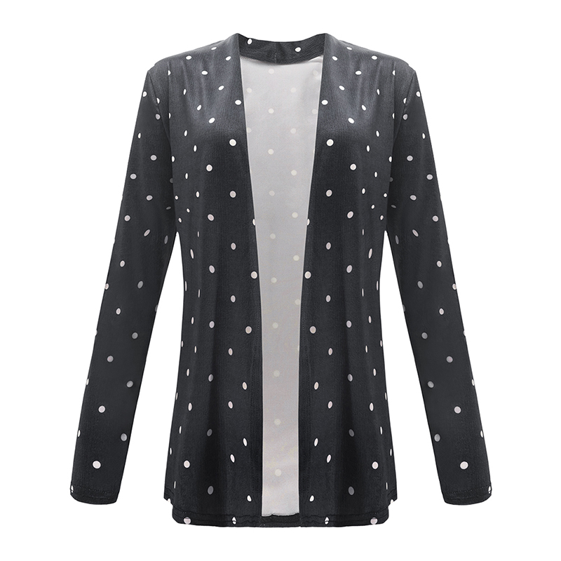 Fashion Women Autumn Casual Coat Dotted Print Splicing Open Front Long Sleeves Elegant Cardigan Outerwear   Basic     Jacket   Overcoat