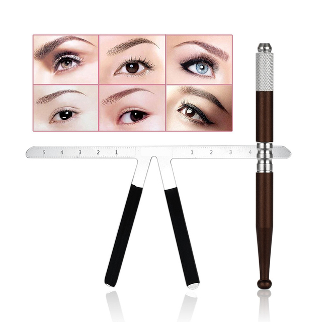 Microblading Reusable Makeup Eyebrow Guide Ruler Tattoo Positioning Stencil Ruler And Manual Pen Permanent Tattoo Tool