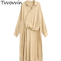 TVVOVVIN 2019 New Irregular High Vent Shirt Type Dress Women Long Sleeve Loose Large Size Personality Cloth Vestido L983