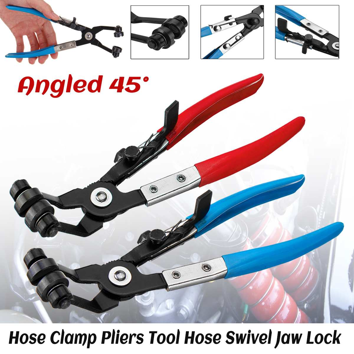 Hose Clamps Pliers Auto Pliers For Car Repair Hose Removal Tool 45 Degree Bent Handle Clip Stainless Repairing Tool Red Blue