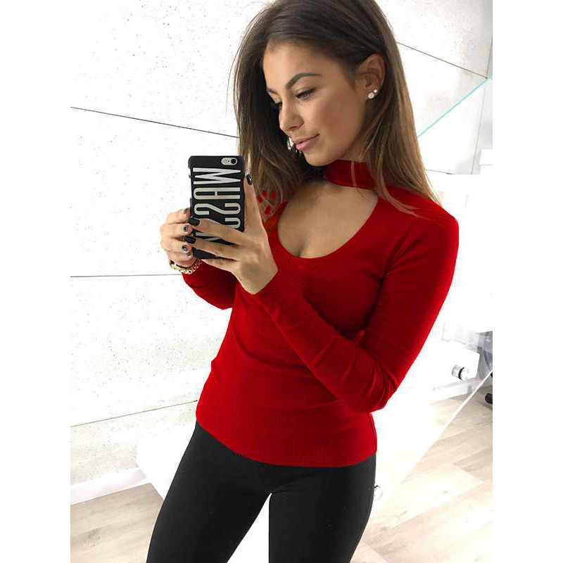 b92ccedcce947 ... Women Fashion Hollow Collar Cut Out Tops Long Sleeve Autumn Tee shirt  femme Ladies Stretch Bodycon