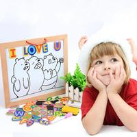 Letter Wooden Magnetic Drawing Board Frame Double Puzzles Writing Pad Learning Educational Game Toy for Kids