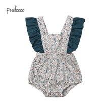 Pudcoco/ брендовый комбинезон с цветочным принтом и оборками для новорожденных девочек, комбинезон, пляжный костюм для детей 0-24 месяцев